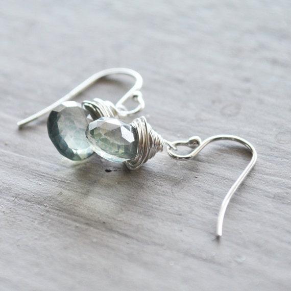 Mint Green Earrings Sterling Silver Quartz Gemstones Light Pale Seafoam Wire Wrapped Jewellery