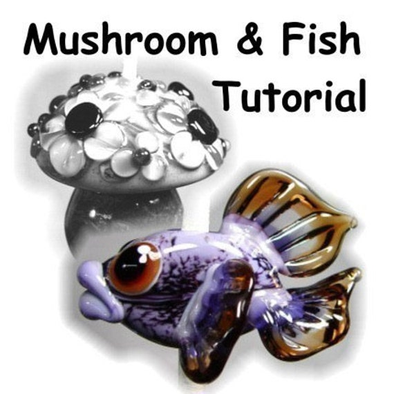 Mushrooms and Fish  Lampwork Glass Bead Tutorial - Focal Bead Step by Step instructions