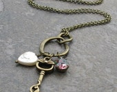 RESERVED - Egyptian Cat Key Infinity Pendant, Antique Brass Charm Necklace, Pearl Heart, Vintage Glass Rainbow Jewel