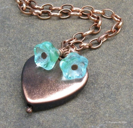 Brushed Satin Copper Heart Pendant with Aqua Glass Flowers, Adjustable Necklace... Heart Jewelry, Valentine's Day