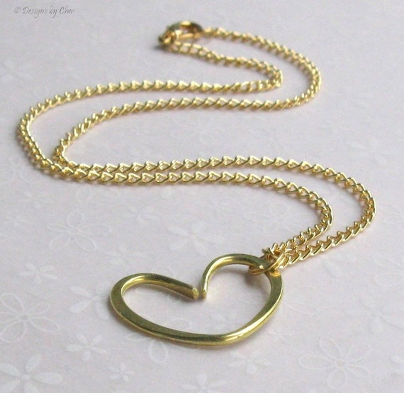 Brass Open Floating Heart Pendant, Goldtone Necklace, Hand Forged Heart Jewelry... Modern Love