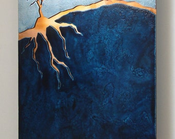 Copper Tree Blue Landscape artwork,  8x10 inches