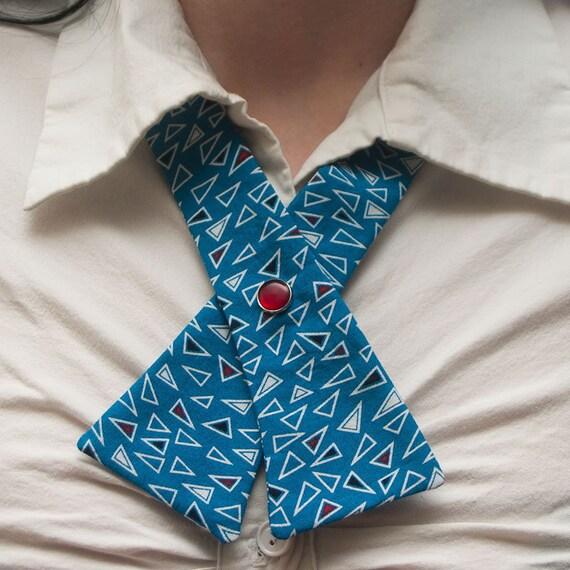 SALE Womens Neck Tie - Retro Blue Geometric Shapes