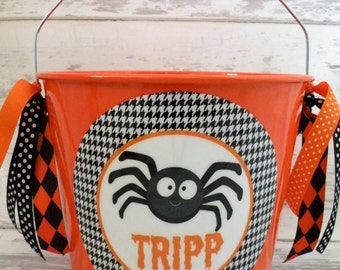 Halloween Bucket - Personalized Halloween Pail - Bucket For Use As Trick Or Treat Candy Bag or Party Favor - Black Spider - Houndstooth
