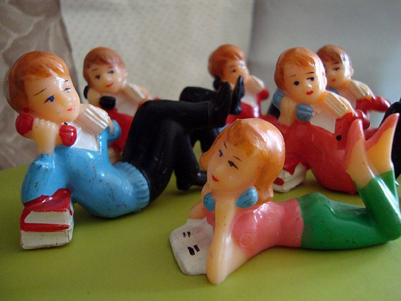 vintage retro preppy cake toppers teenage telephone guys and gal