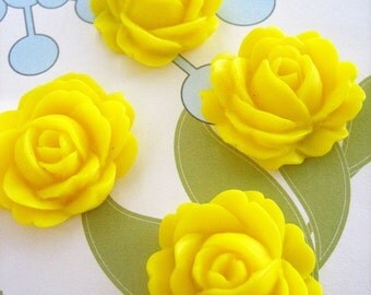 2 yellow cabbage rose cabochons, cute resin flower cabs, 22x26mm