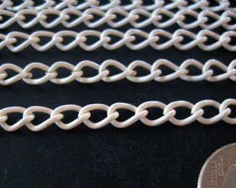 10 feet white enamel curb chain 6mm x 4mm, lovely kawaii chain