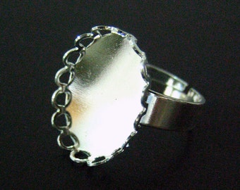 13x18mm bezel ring base, silver plated adjustable oval settings A193