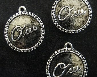 12 silver french oui charms 22x19mm