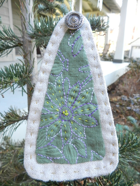 Christmas Tree Ornament- Original Folk Art Embroidery