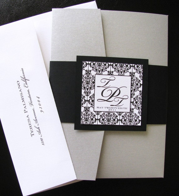 damask black white silver pocket folder wedding by lanibluewedding