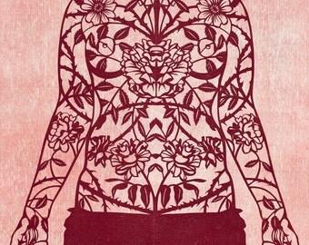 Woman's Torso Rose Tattoo Papercut Print