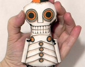 Day of the Dead Skeleton Doll Ornament- Original Folk Art- Printed and Stuffed Cloth