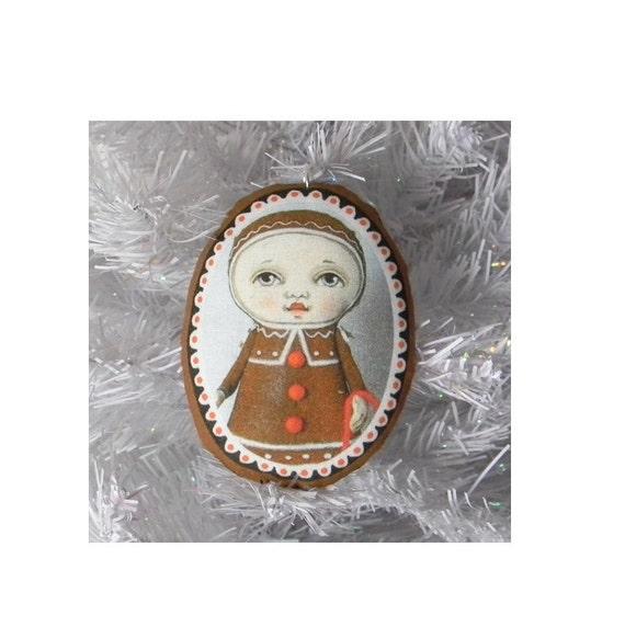 Gingerbread Doll Christmas Ornament-- Original Folk Art-- Printed and Stuffed Fabric