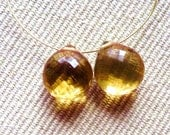 AAA - CITRINE Faceted Briolette Heart Beads -9mm- PAIR