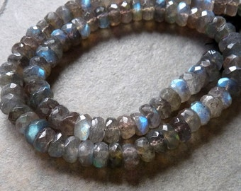 Labradorite Faceted Rondelles - 7-8mm - 11 Beads