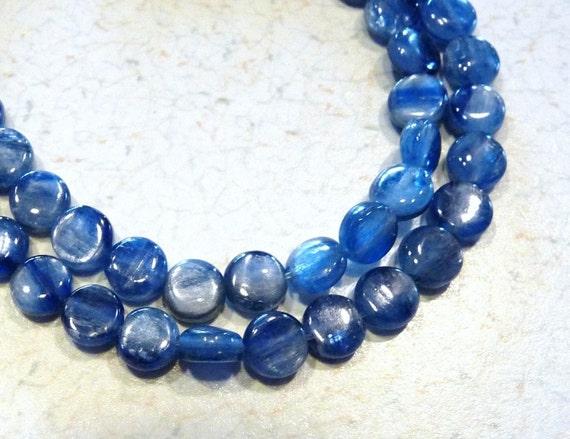 Brazilian Blue Flashy Kyanite Smooth Coin Beads - 6mm - 7 Beads