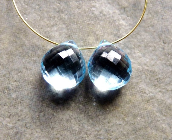 AAA Swiss Blue Topaz Faceted Heart Briolettes 9mm - Matched Pair