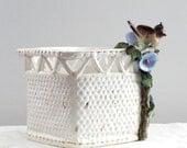 Cottage Granny Chic White Ceramic Trellis Gold Fleck Bird Blue Morning Glory Flowers Planter Marked MC Italy
