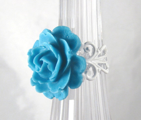 Capri Blue Rose Filigree Ring Shabby Chic Romantic Fashion Jewelry