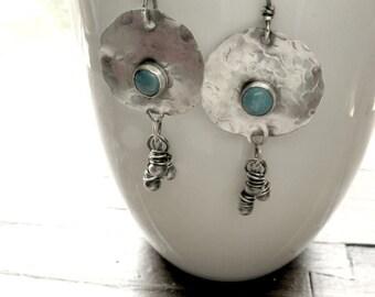 Southwestern Jewelry, Turquoise Earring, Turquoise Statement Earring, Turquoise Dangle Earring, Wire Wrapped Earrings, Rustic Jewellery