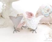 Fabric Birds Pink Wedding Cake Topper English Country Garden Romantic Love Birds