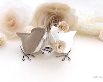 Wedding Cake Topper Linen Satin Taupe Ivory Vintage Weddings Romantic Wedding