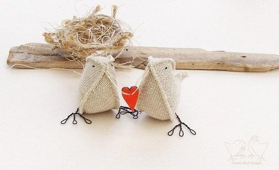 Custom Order Burlap Birds with red love heart  Wedding Cake Topper