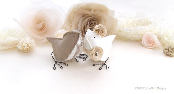 Custom Order Love Birds Wedding Cake Topper Café au Lait and Ivory