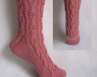 PDF Sock Pattern, RIBBON CANDY Sock Pattern,  cable sock design with patterned heel