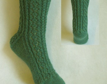 PDF Sock Pattern, Babbling Brook Sock Pattern, lace and cable sock design with patterned heel