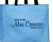 Soon to be or Future Mrs. Bride to be Tote Bag Personalized Embroidered Bride to be Bridal