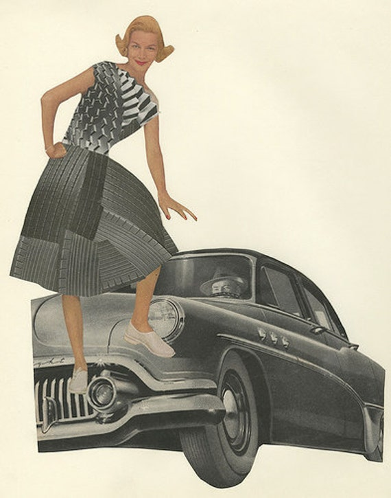 Tireless fashions for the well traveled woman.   Original collage by Vivienne Strauss.