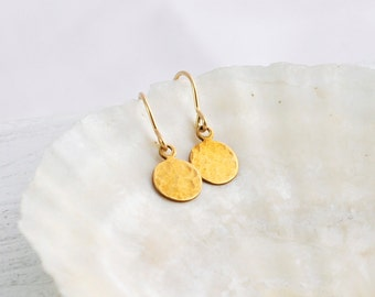 Hammered drop earrings - small round brass dangles on 14k gold filled ear hooks - dainty gold earrings - simple everyday jewelry