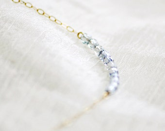 Delicate beaded necklace - light blue necklace - beaded necklace - classic necklace - delicate necklace - minimalist - Cherish light blue