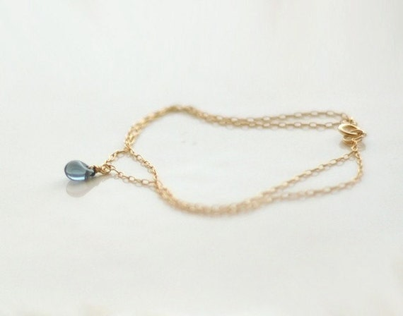Blue drop bracelet - double layered teardrop gold or sterling bracelet - delicate jewelry  gift for her