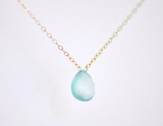 Cerulean necklace - aqua blue chalcedony gem on gold fill chain - gemstone jewelry