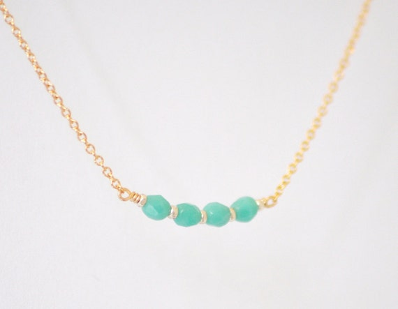 Icing necklace - tiny turquoise beads delicate 14k gold filled chain - simple everyday jewelry gift