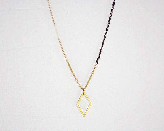 Diamond shaped necklace - brass chain - gold filled chain - minimalist necklace - extra long necklace - mixed metal necklace - Jager
