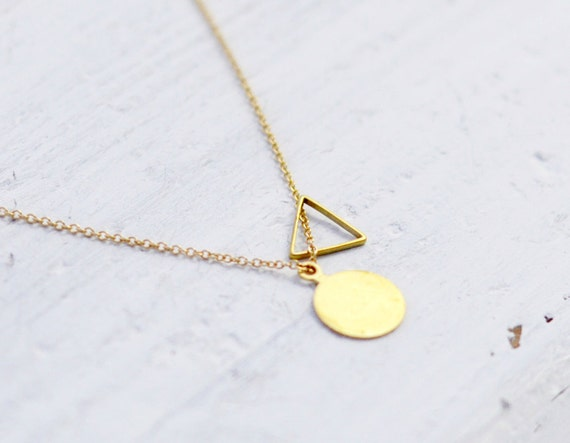 Triangle Circle charm necklace - brass pendant necklace - geometric necklace - minimalist necklace - gold filled chain - Triangle and dot