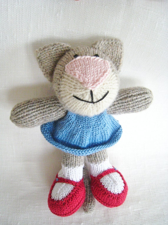 Knitted Toy Cat Handmade knitted kitty blue dress by ...