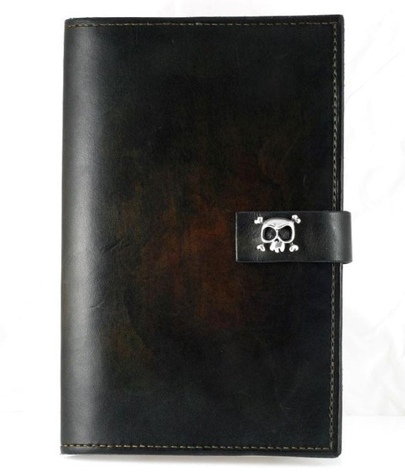 Memoirs Leather Journal with Silver skull.
