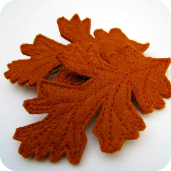 autumn oak leaf hair clip - dark orange