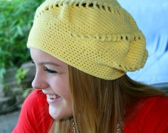 Crochet Pattern for Making a Beret in Sunny Spiral Design PDF Pattern