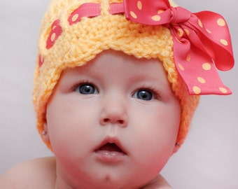 Toddler Clothing Pattern for Making a Crochet Sunny Bow Hat for Infant and Toddlers Photo Prop PDF Instant Download