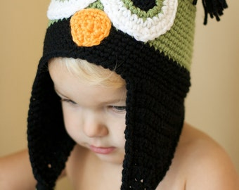 Pattern Directions for Making a Crochet Boys Owl Earflap Hat  Infant and Toddlers Photo Prop INSTANT DOWNLOAD
