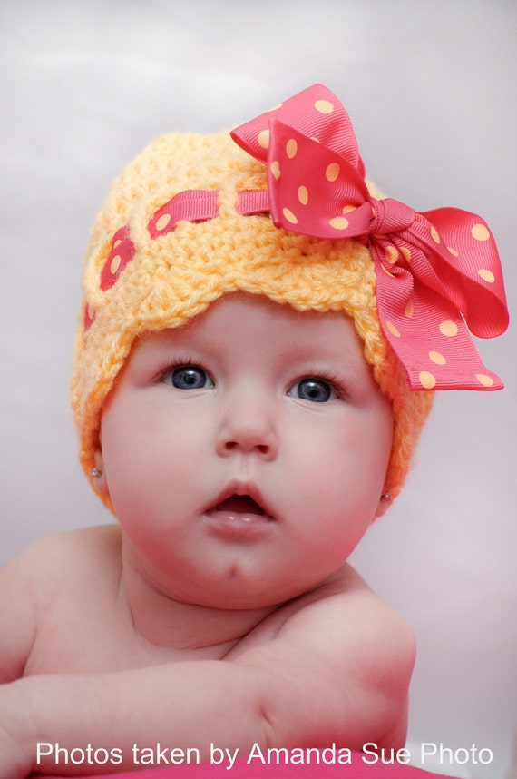 Pattern for a Crochet Sunny Bow Hat for Infant and Toddlers Photo Prop PDF