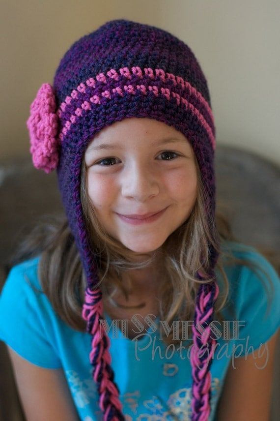 Pattern for a Crochet Purple and Pink Earflap Hat with Braids for Infants thru Child PDF INSTANT DOWNLOAD