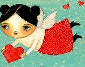 FLYING ANGEL folk art PRINT of painting by tascha
