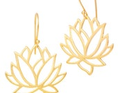 SALE - 30% OFF: Lotus Flower Earrings in 24k Gold Plated over Sterling Silver